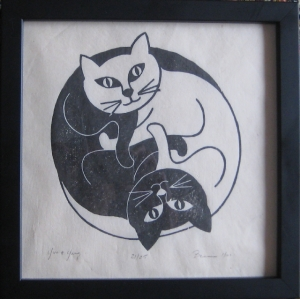 "Brian Lockyear, ""Yin & Yang,"" Woodblock, ed. 25, 10 x 10 inches"